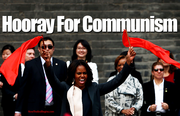 michelle-obama-waves-communist-flag-china
