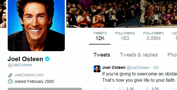 The Shocking Missing Word That Joel Osteen Has Almost Never Tweeted
