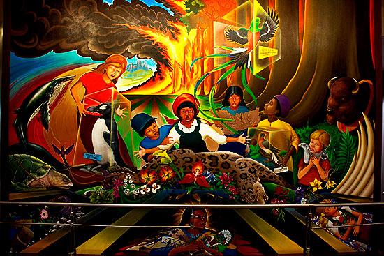 Mural en el Aeropuerto de Denver, uno de los búnkers secretos