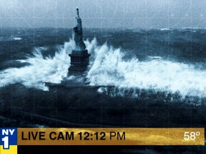 Hurricane Sandy hits the Statue of Liberty...