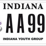 An undated photo provided by the Indiana Bureau of Motor Vehicles shows Indiana's first specialty license plate that benefits gay causes. The Bureau of Motor Vehicles