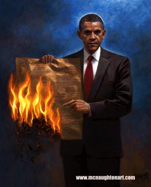 Obama burning Consitiution by McNaughton