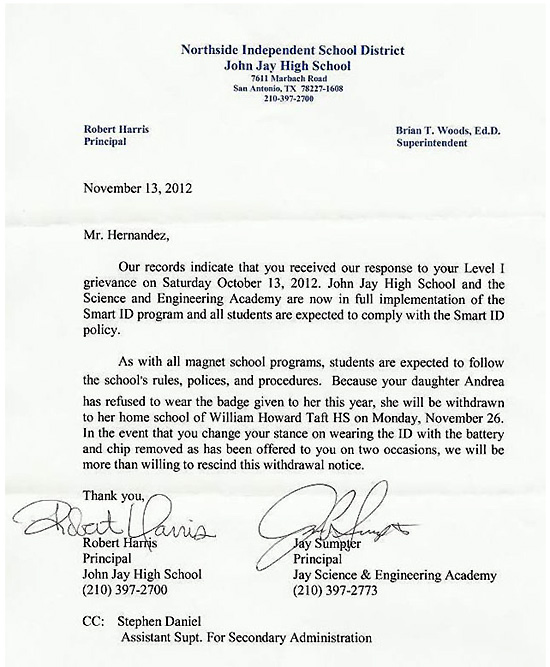 letter-from-john-jay-high-school-withdrawing-andrea-hernandez-for-not-wearing-rfid-tracking-device-id-badge