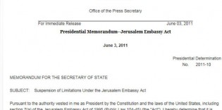Obama Signs Document That Tells Israel Jerusalem Is Not Your Capital