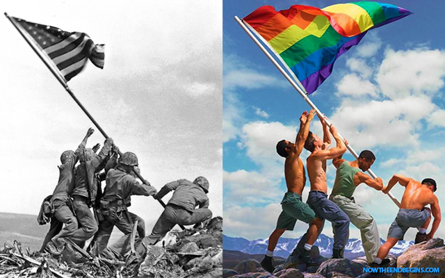 raising-flag-battle-of-iwo-jima-mount-suribachi-photo-stolen-by-lgbt-gay-queer-pride-mafia-world-war-2-wwii