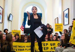 alexandria-ocasio-cortez-leads-protest-climate-change-nancy-pelosi-office-democratic-socialists