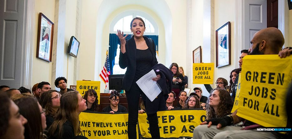 alexandria-ocasio-cortez-leads-protest-climate-change-nancy-pelosi-office-democratic-socialists