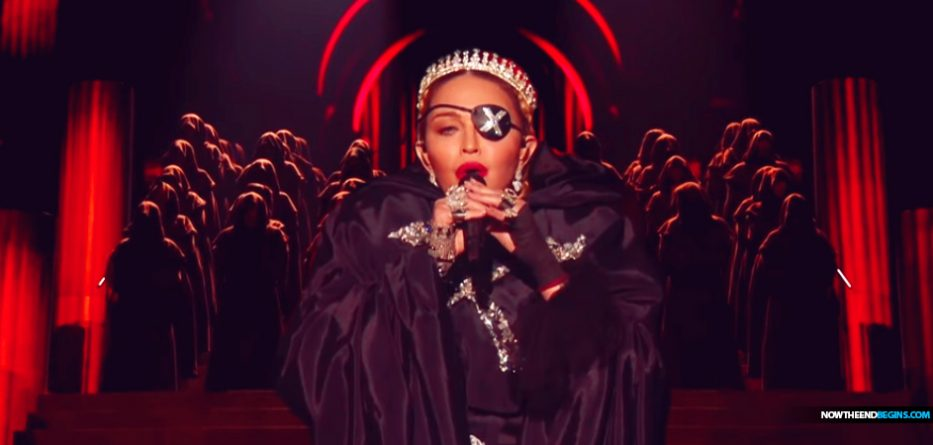 Madonna At Eurovision In Tel Aviv Does Opening Number As The Antichrist Mocking The Sacrifice Of Jesus Christ At Calvary