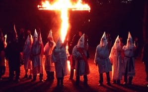 The burning cross used by the Ku Klux Klan is a terror tactic still used today.