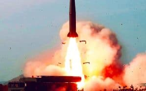 A North Korean rocket takes off during a missile test on Saturday. North Korea launched two short-range missiles in a separate missile test on Thursday.