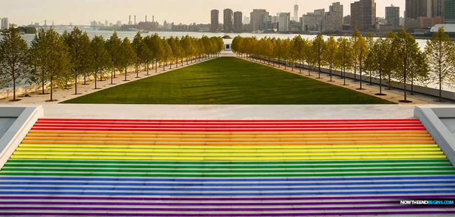 The massive Pride staircase at the Franklin D. Roosevelt Four Freedoms State Park is the largest the city has ever seen.