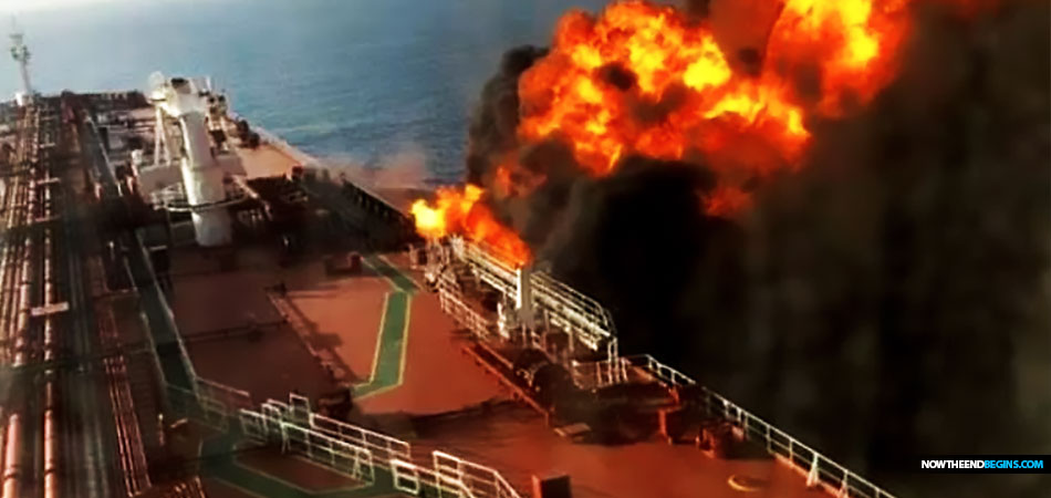 SHOCKING pictures show a huge fireball raging on a US-linked oil tanker after it was reportedly struck by a torpedo in the Gulf of Oman today.