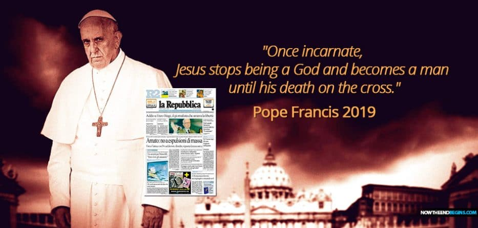 """In the latest edition of La Repubblica, Pope Francis' longtime atheist friend and interviewer, Eugenio Scalfari, claims that the Pope told him that once Jesus Christ became incarnate, he was a man, a """"man of exceptional virtues"""" but """"not at all a God."""""""