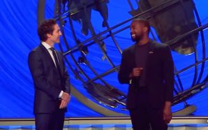 Joel Osteen was grinning and blushing like a schoolgirl on a first date today as his 47,000 followers in a packed Lakewood Church today welcomed Hollywood superstar Kanye West to the stage.