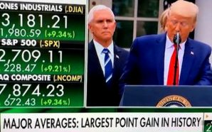 Stocks surged as President Trump was announcing at the White House that he would declare a national emergency over the coronavirus, freeing up billions of federal dollars to address that fast-spreading virus. The Dow jumped more than 3% as Trump was speaking.