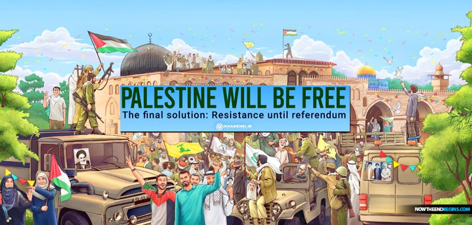 Iran's Supreme Leader Ayatollah Ali Khamenei posted online an anti-Semitic poster depicting a 'free Palestine' devoid of Jews in Jerusalem while evoking the Nazi's infamous 'Final Solution' from the Holocaust.