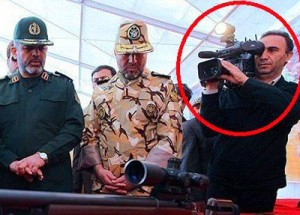 Iranian cameraman Hassan Golbankhan and Revolutionary Guards chiefs
