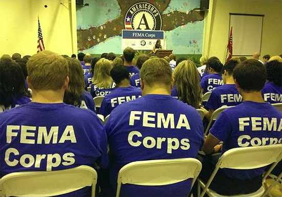Vicksburg, Miss., Sep. 13, 2012 -- Image from the Induction Ceremony for the inaugural class of FEMA Corps members. FEMA Corps members assist with disaster preparedness, response, and recovery activities, providing support in areas ranging from working directly with disaster survivors to supporting disaster recovering centers to sharing valuable disaster preparedness and mitigation information with the public.